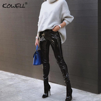 Hot Sell 2018 Autumn Winter Sexy Women Pencil Pants Solid PU High Waist Bodycon Sexy Club Party Strech PU Leather Pants