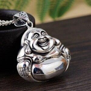 Image 3 - 100% 925 argent tibétain riant bouddha Statue pendentif bouddhiste bouddha pendentif tibétain bonne chance amulette