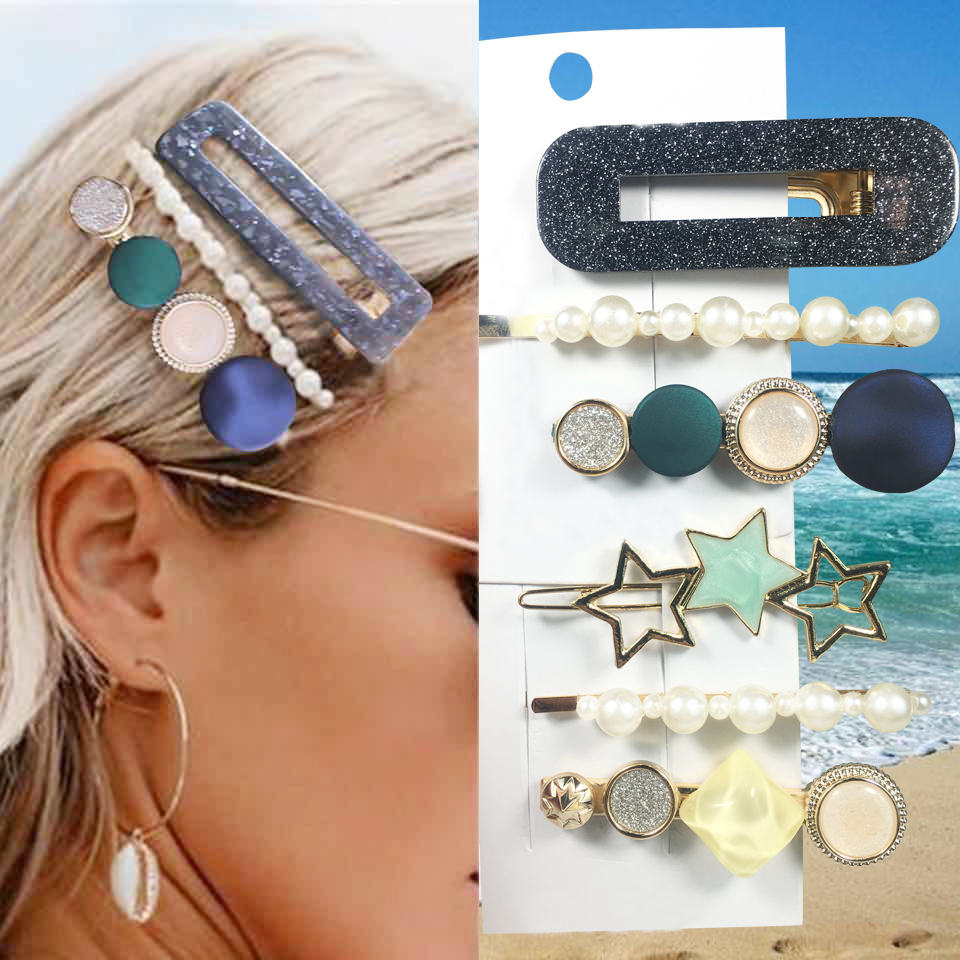 Summer 1Set  Pearls Acetate Hairgrip Fashion Girl Hair Accessories Hair Clip For Women 2019 New Geometric Barrettes