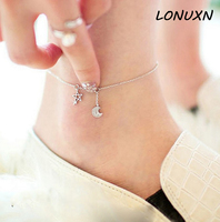 hexagon Hexagram moon High quality stars female Korean Anklet 925 silver retro Japan simple Korea female student summer jewelry