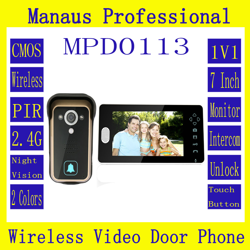 D113b Smart Home 1V1 Wireless Intercom,One to One Video Door Phone 2.4G Digital PIR Detection Video Door Peephole Camera