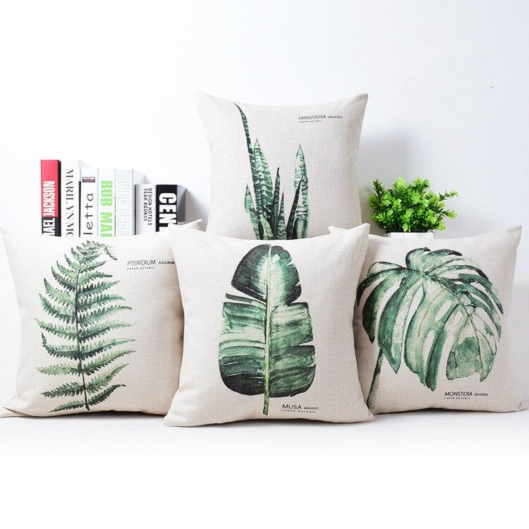 Plain Linen Throw Pillow Covers : New Modern Plain Cushion Covers Linen Green Plants Throw Pillow Case Green Home Decor Plantain ...
