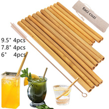 12PCS Eco Friendly Bamboo Straw Bag Bar Accessories Reusable Brush Drinking Straws Cocktail Wedding Decoration