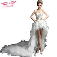AnXin SH Sexy lace flower crystal wedding dress diamond before long and short Princess strapless bow white wedding Dress 810