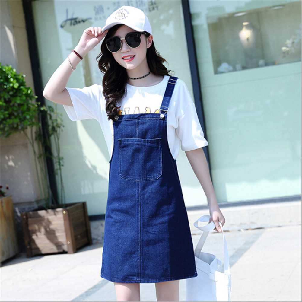 b3ae66238c4  310 Spring Summer 2017 Denim Dress Women Female Casual Clothing Fashion  Cotton Strap Jumper Sundress Large Size Dress-in Dresses from Women s  Clothing on ...