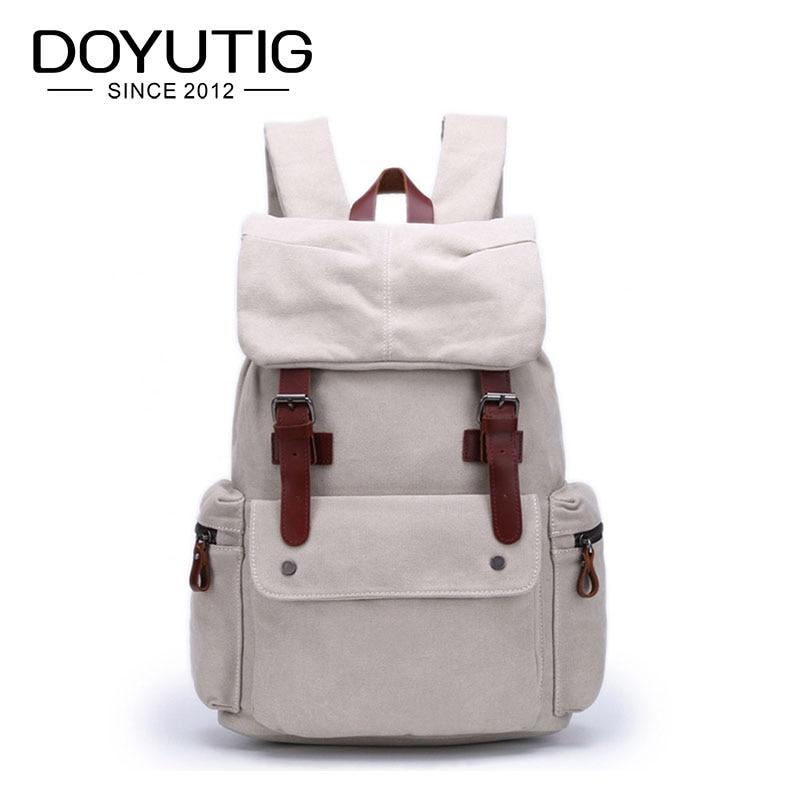 Sac à dos d'école pour ordinateur portable blanc de grande capacité pour hommes de conception Simple sacs de week-end de toile Double épaule sacs de voyage de mode H026