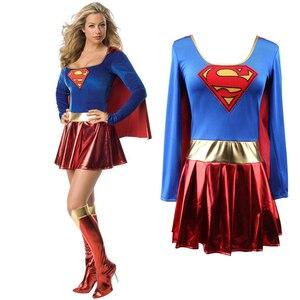 Image 3 - COSREA Superwoman elbise Superman Cosplay kostümleri yetişkin kız cadılar bayramı süper kız takım elbise süper hero Wonder Woman süper Hero