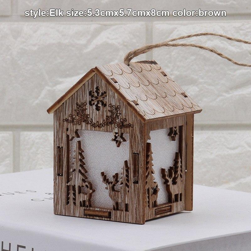 Christmas Wooden Night Light Snowman Elk Bell Night Lights Xmas Lantern Decor #2