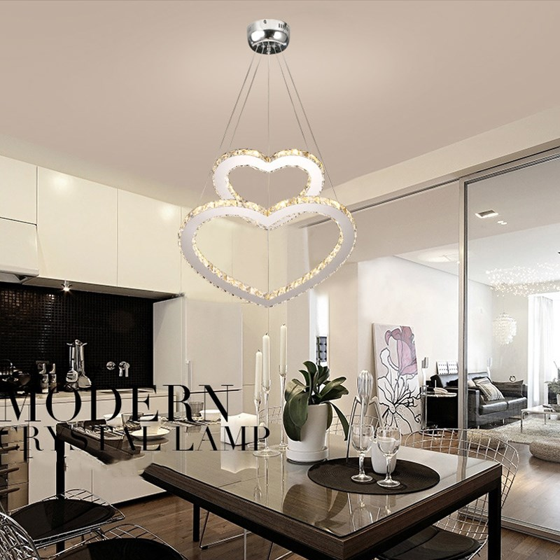 New modern Crystal Heart LED Crystal Chandelier Crystal Lamp / Lighting Fixture LED Circle Light Diameter Pendant Lamp silver crystal ring led chandelier crystal lamp light lighting fixture modern led circle light used for ceiling or wall 20cm