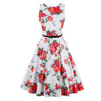 Vintage1950s Summer Women White Party Dress Print Flowers Sleeveless O Neck Tank Ball Gown Elegant Red
