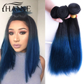 7A Brazilian Straight Ombre blue Human Virgin Hair 3 Bundles Spring And Summer Bob Weaving Style Extension HANNE Colorful Hair