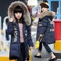 Casacos de inverno Meninas Snowsuit Outerwear Fille Doudoune Abrigo Grande Gola De Pele Para Baixo Criança Casacos Menino Parkas Quente Nina TZ126