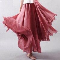 SEBOWEL Autunmn Winter Women Long Skirts Linen Cotton Elastic Waist Pleated Maxi Skirts Beach Boho Vintage