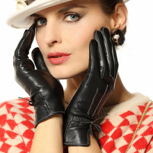 warmen new style winter warm Genuine leather gloves for women white collar sheepskin fashion wrist