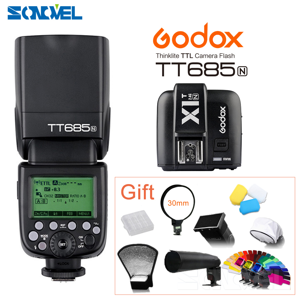 Godox TT685N 2.4G HSS i-TTL GN60 Wireless Speedlite Flash+X1T-N Transmitter for Nikon D7500 D5600 D850 D810a D800 D500 D5 D4s DF quick release l plate bracket 1 4 screw mount for nikon d7500 d7200 d5600 d850 d810a d800 d750 d610 d500 d300s d90 d5 d4s d4 d3x