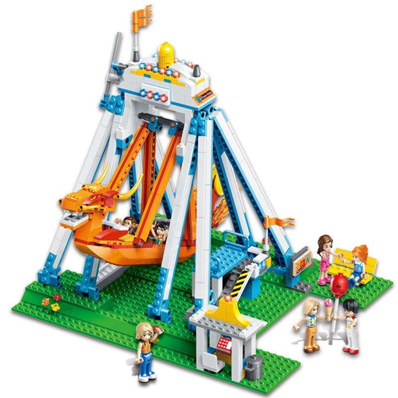 780Pcs Friends Series City Fun Park Pirate Ship Building Blocks Sets Compatible Legoings Friend Happy Children Play Toys Figures