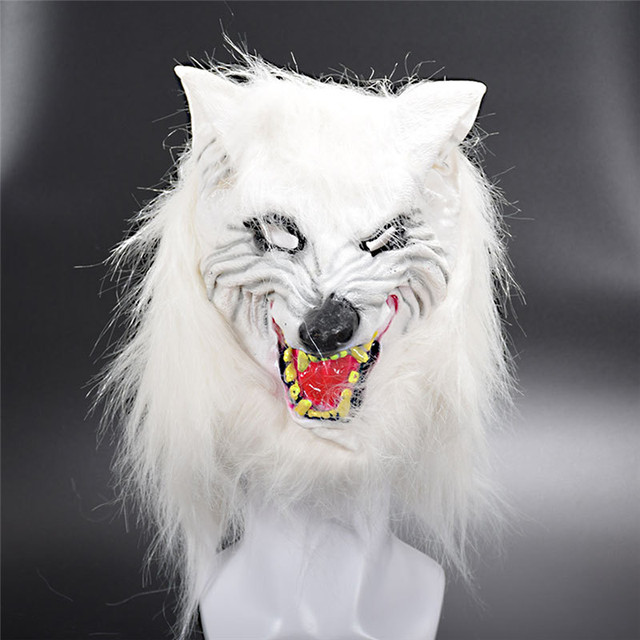 white fierce fox cool horror halloween mask scary silver fox headwear halloween party decorations halloween party