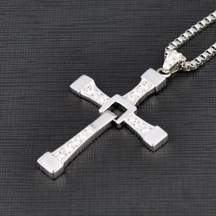 FAST and FURIOUS Dominic Toretto's Cross 925 Sterling Silver Pendant Necklace Big Size High Qualiyt 100% high quality the fast and the furious celebrity vin diesel item crystal jesus cross pendant necklace for men gift jewelry