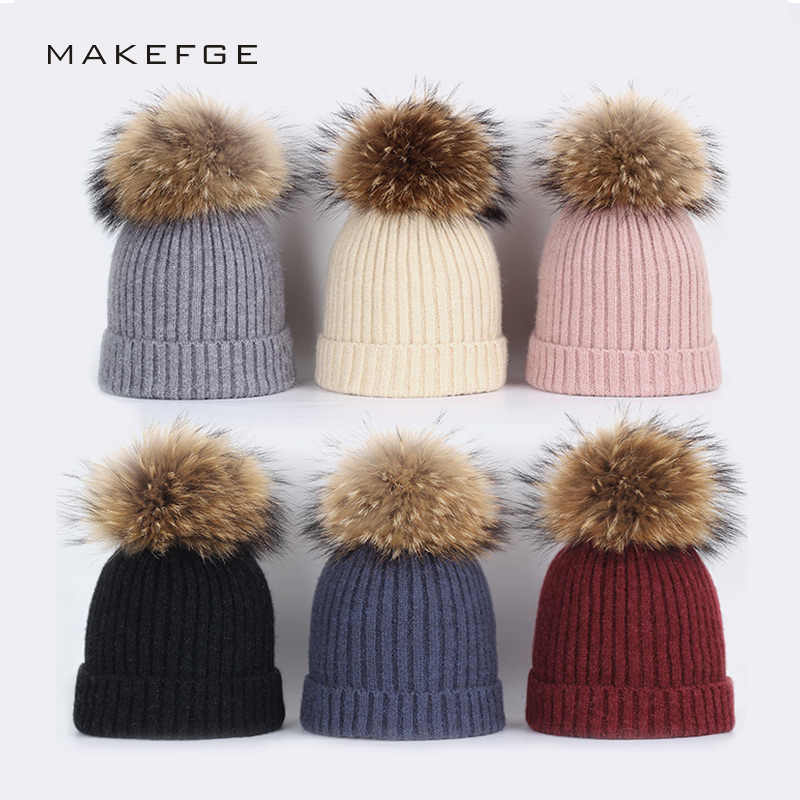 42fd4d58089 New fashion children s hats baby winter raccoon fur pom-pom yarn cotton  warm knit solid