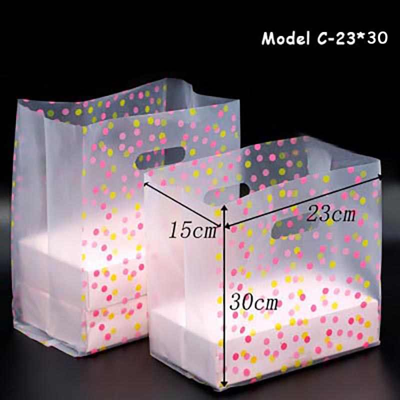 Disposable Takeout Food Packing Bags Waterproof Transparent Sushi Salad Takeaway Handbag Bread Fast Food One-off Packing Bag 50p