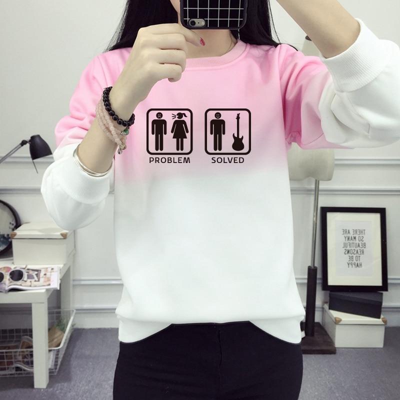 Funny Problem Solved Sweatshirt Winter Women 2016 Cotton Fleece Sweatshirt Women Print Hoody Gradient Letter Pullover JBW-12012