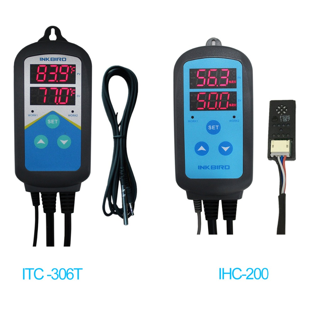 Inkbird Combo Set Pre-wired Digital Dural Stage Humidity Controller IHC200 and Heating Timer Temperature Controller ITC-306T