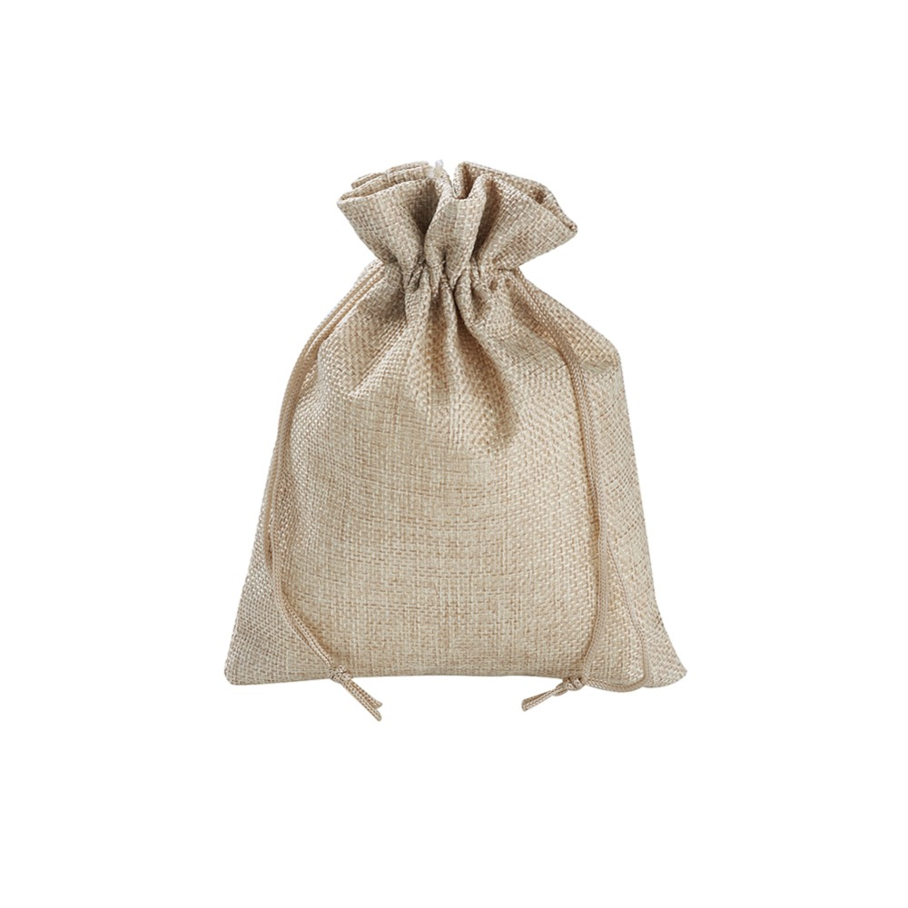 20x15cm Imitate Sackcloth <font><b>Bags</b></font> Rectangle Drawstring Jewelry Storage <font><b>Packaging</b></font> Imitation Sack Pouches Wedding Party Gifts Linen image
