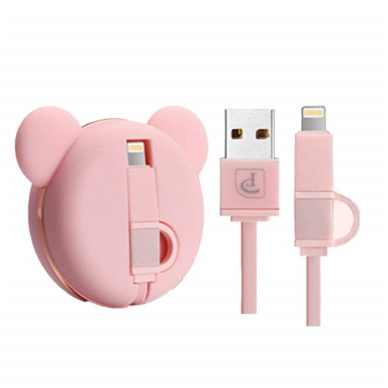 Charger, retractable cute bear USB cable 2 in 1 sync and charge portable high speed charging line IOS Android