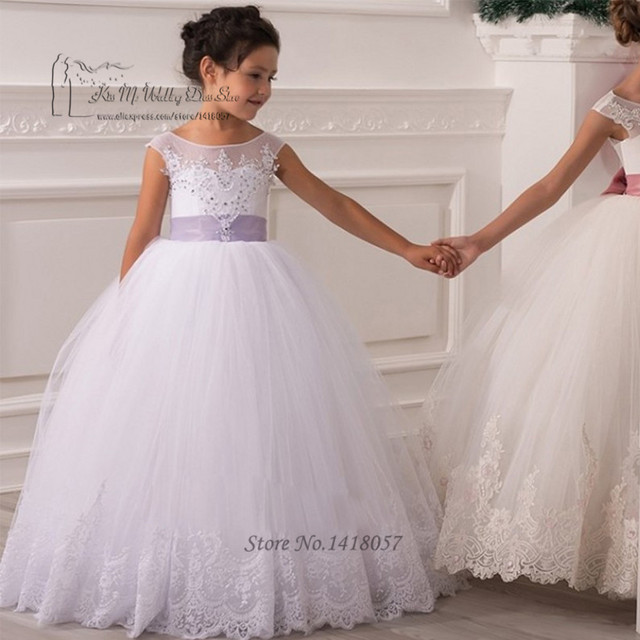 3fedc5088d5 2017 White Lavender Sash Flower Girl Dresses Kids Evening Gowns Lace  Pageant Dresses for Little Girl Vestido de Primera Comunion
