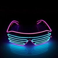 Đa Màu Sắc EL Phát Sáng Kính Thời Trang Neon LED Light Up Màn Trập Hình Glow Kính Cho Dance DJ Đảng Mask Kính