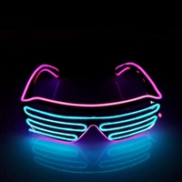 2016 New Arrival 2 Colours EL Wire Neon LED Light Up Shutter Fashionable Glasses For Party