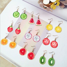 Dainty Cute Fruit Acrylic  Earrings Strawberry Apple Tomato Kiwi Orange Cucumber Dragon Pineapple Drop Earring