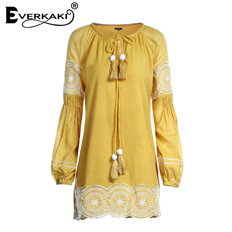 Everkaki Embroidery Boho Dress Women Summer Mini Dresses Orange Solid Long Sleeve Dress V Neck High Waist Dress Shirt Vestidos