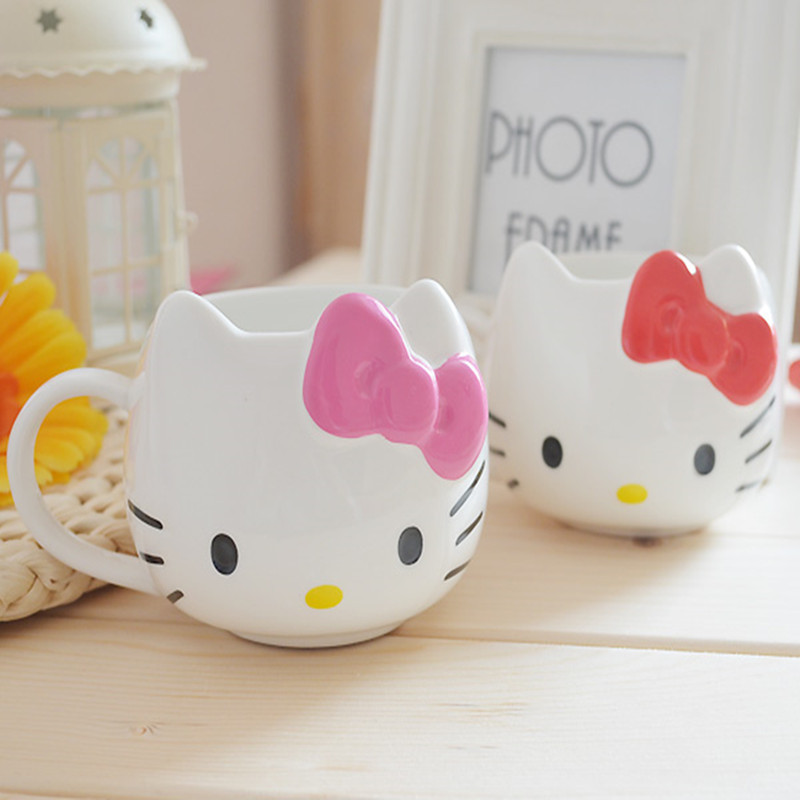 300ml Hellokitty Cartoon Ceramic Coffee Milk mug for childen Cup Creative Cute Ceramic Porcelain Coffee Cup
