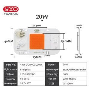 1 шт. гидропоники AC 220 В 20 Вт 30 Вт 50 Вт cob светодиодный светильник для выращивания chip полный спектр 380nm-780nm для комнатных растений рост рассады и цветов