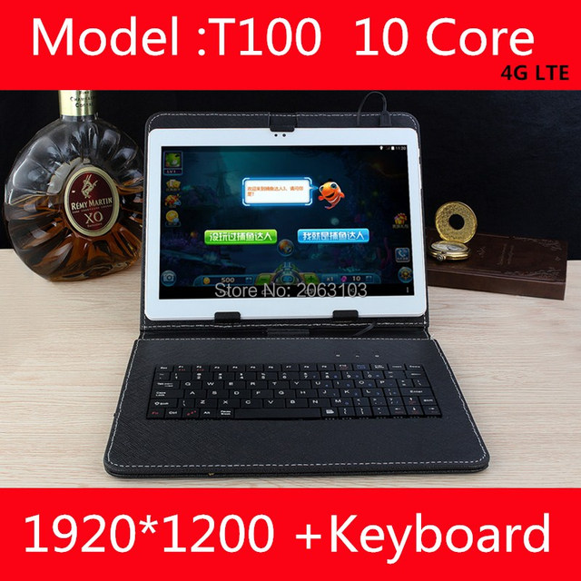 Newest T100 10 inch 10 Core Tablet PC Android 7.0 4GB RAM 128GB ROM 1920*1200 IPS Screen 4G LTE 8.0 MP Camera  free shipping