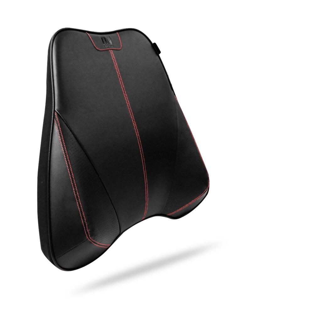 Car Seat Support Set Car Headrest Neck Pillow+Car Lumbar Cushion Cowhide Genuine Leather+Memory Foam Black Color Car Styling
