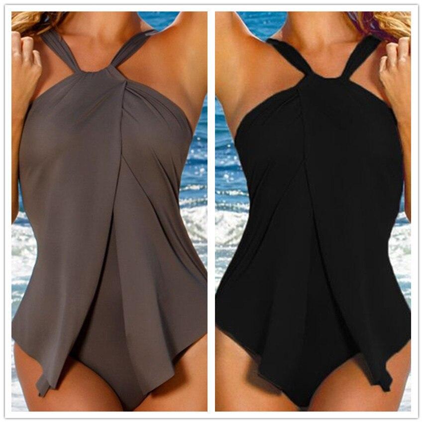 Plus Size Swimsuit Sport One Piece Swim Wear Women Halter Top Swimwear Padded Swim Dress Vintage Beach Wear Push Up Monokini