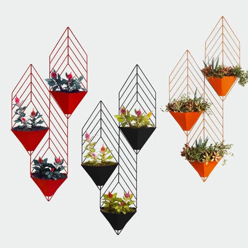 Краткое железа Книги по искусству хлорофитум висит стене дома вазы Гостиная декоративные аксессуары ремесла Книги по искусству ificial цветоч