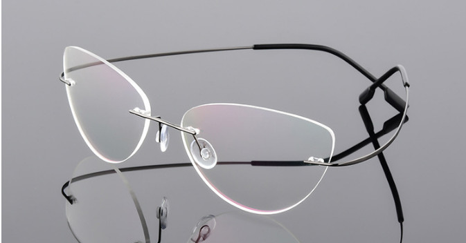 Image 5 - Cat eye titanium rimless Reading Glasses ultra light women alloy Rimless reading eyeglasses Presbyopic glasses +50 +100 to +600-in Women's Reading Glasses from Apparel Accessories on AliExpress