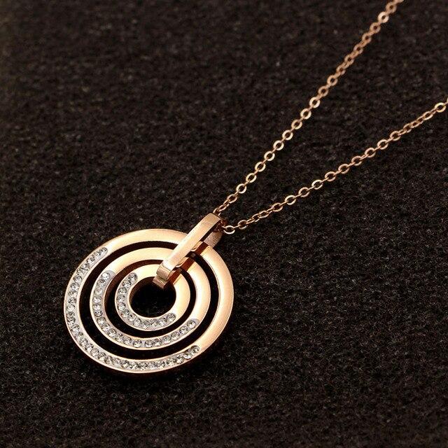 Модные ювелирные изделия размер три круга кулон ожерелье личность