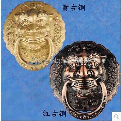 Poignée Antique tête de lion heurtoir de porte grande licorne chinoise bête poignée diamètre 28 CM