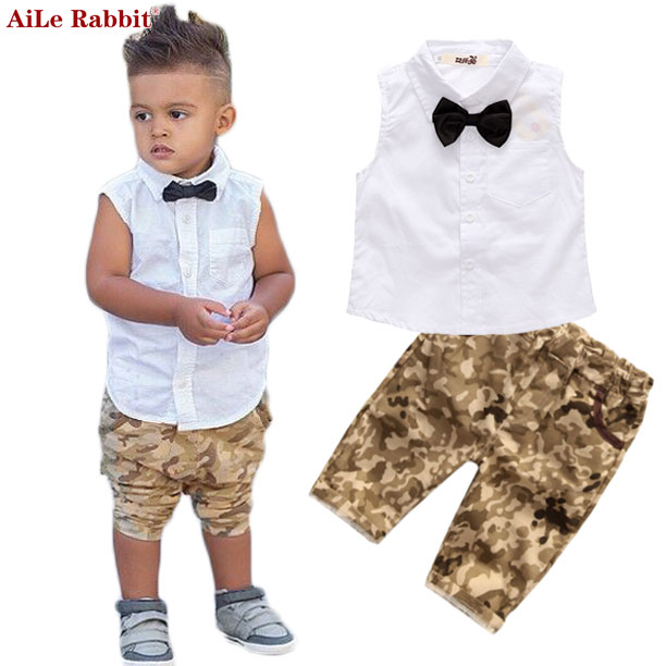AiLe Rabbit 2017 Summer Boys Suits Top + Pants 2 Pieces Set Fashion Sleeveless T-shirt Camouflage Pants Children's Clothing