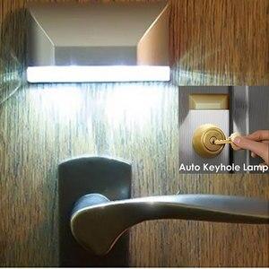 Image 4 - 4 LED باب ثقب المفتاح ضوء PIR كشف الأشعة تحت الحمراء محس حركة مصباح المنزل الذكي السيارات قفل الباب التعريفي الذكية ليلة الخفيفة