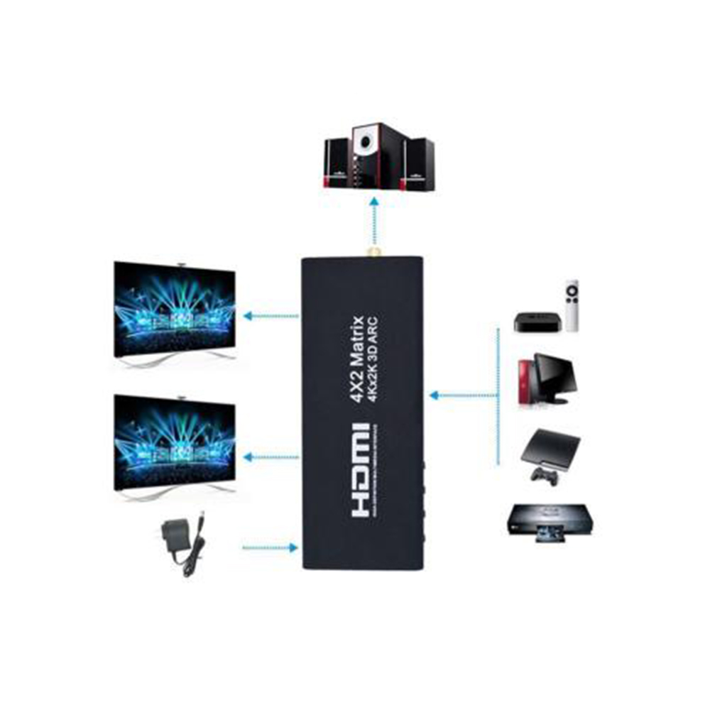 4Kx2K 3D ARC 1080P HDMI Matrix 4x2 4 In 2 out HDMI Switch Switcher Splitter Adapter SPDIF Coaxial R/L Output for Computer DVD TV