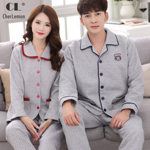 CherLemon Mens Womens Matching Couples Winter Pajama Set Warm Thick Cotton Long Sleeve Pijamas Comfy Large Size Loungewear