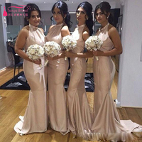 Halter elegant Bridesmaid Dresses champagne Mermaid Wedding Guest Dresses Prom Dresses Formal Wear  Z470
