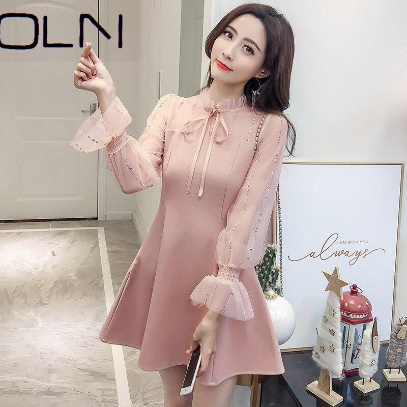 Платье женское, ажурное, с вышивкой, в Корейском стиле, 2020|Платья|   | АлиЭкспресс