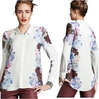 Mooie Nieuwe Mode vrouwen Bloemenprint Chiffon Blouses Casual Lange Mouwen Pops Shirt Elegant Merk Ontwerp Losse Pops S/M/L