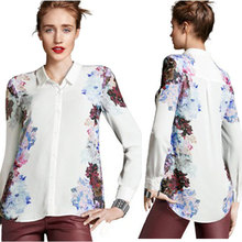 Nice New Fashion Women's Floral Print Chiffon Blouses Shirt Casual Long Sleeve Pops Shirt Elegant Brand Design Loose Pops S/M/L